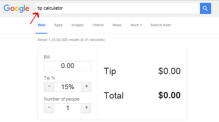 tip calculator, google tips and tracks